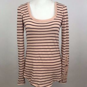 Free People Pink Striped Scoop Neck Shirt Size S